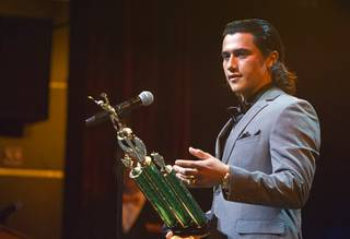 Arbor View High School baseball player Nick Quintana accepts the award for male athlete of the year during the inaugural Las Vegas Sun Standout Awards at the South Point Thursday, May 19, 2016.