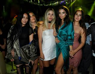 Emily Ratajkowski, second from right, celebrates her 25th birthday at Intrigue Las Vegas on Saturday, May 28, 2016, at Wynn Las Vegas.