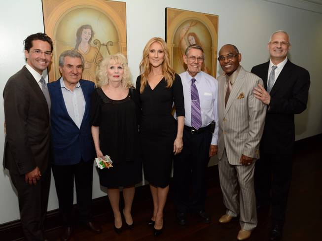 Four of the five employees who have been with Caesars Palace since 1966 attended Celine Dion's resident show at the Colosseum and met Dion on Wednesday, May 18, 2016, as part of the 50th anniversary celebration. From left, Caesars Palace General Manager Sean McBurney, Pete George, Pamela Price, Dion, Jim Dunbar, Benny Figgins and Caesars Palace Regional President Gary Selesner.