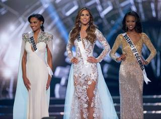 Miss George Emanii Jovan Davis, Miss Hawaii Chelsea Hardin and Miss District of Columbia Deshauna Barber are the Top Three in the 2016 Miss USA Pageant at T-Mobile Arena on Sunday, June 5, 2016, on the Las Vegas Strip. Barber was crowned Miss USA at the end of the pageant.