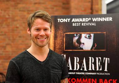 "This Jan. 8, 2016, photo shows Randy Harrison, who plays the MC role made famous by award winners Joel Grey and Alan Cumming, during a rehearsal in New York for the ""Cabaret"" tour. The musical, about the world of the indulgent Kit Kat Klub in Berlin, lands at the Smith Center on Tuesday, June 14, 2016, for a limited run."