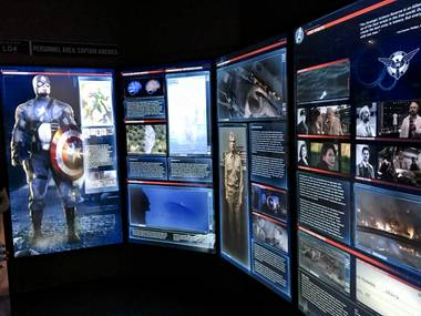 A Captain America information graphics display at the Marvel's Avengers STATION, an immersive exhibit that takes visitors on a journey through the Avengers superhero franchise, Tuesday, June 14, 2016, at Treasure Island.