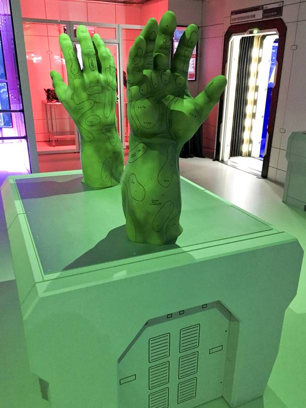 Hulk hands display at the Marvel's Avengers STATION, an immersive exhibit that takes visitors on a journey through the Avengers superhero franchise, Tuesday, June 14, 2016, at Treasure Island.