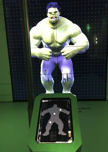 Hulk station at the Marvel's Avengers STATION, an immersive exhibit that takes visitors on a journey through the Avengers superhero franchise, Tuesday, June 14, 2016, at Treasure Island.
