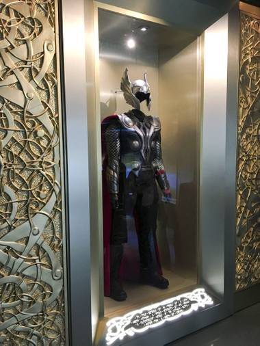 Thor suit display at the Marvel's Avengers STATION, an immersive exhibit that takes visitors on a journey through the Avengers superhero franchise, Tuesday, June 14, 2016, at Treasure Island.