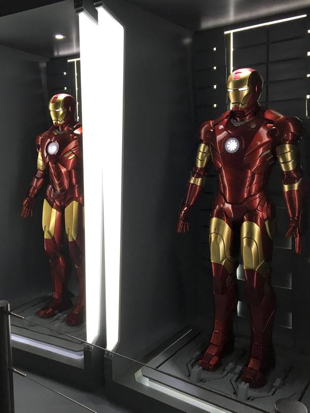 An Iron Man suit display at the Marvel's Avengers STATION, an immersive exhibit that takes visitors on a journey through the Avengers superhero franchise, Tuesday, June 14, 2016, at Treasure Island.