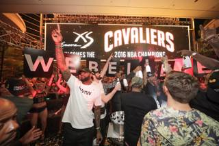 LeBron James and the Cleveland Cavaliers celebrate their NBA championship early Monday, June 20, 2016, at XS in Encore.