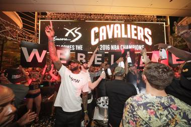 LeBron and squad stopped by the Encore nightclub after snagging the Cavs' first-ever NBA title.