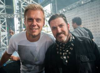 DJ Armin Van Buuren and Insomniac CEO and founder Pasquale Rotella attend Night 2 of the Electric Daisy Carnival on Saturday, June 18, 2016, at Las Vegas Motor Speedway. Insomniac oversees the EDC festivals.