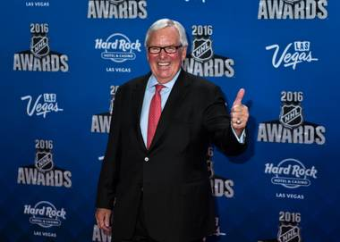 "Bill Foley sidestepped a commemorative street sign reading ""NHL Hockey Boulevard"" to talk for a time about his hockey team. ..."