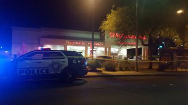 A woman was killed outside this Walgreens on Jones and Lake Mead boulevards, Wednesday night, June 29, 2016.