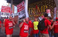 Union members picket outside the Trump Taj Mahal casino in Atlantic City on Friday July 1, 2016, moments after they began a strike against the casino. Local 54 of the Unite-HERE union says it was unable to reach a new contract with the casino, which is owned by billionaire investor Carl Icahn.