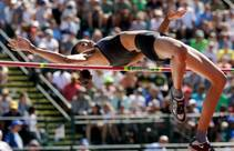 Vashti Cunningham clears the bar Sunday, July 3, 2016, during the women's high jump final at the U.S. Olympic Track and Field Trials in Eugene Ore.