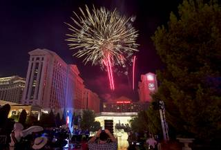 Fireworks explode during Independence Day Weekend celebrations at Caesars Palace Sunday, July 3, 2016. The event was part of the Caesars Palaces 50th Anniversary Summer of Caesars celebration.