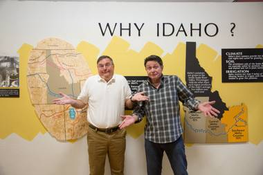 """Idaho! The Comedy Musical"" writing partners Buddy Sheffield and Keith Thompson are shown in September 2015 at the Idaho Potato Museum in Blackfoot."