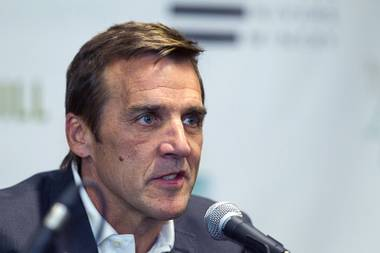 George McPhee speaks after being named general manager of Las Vegas' NHL expansion team during a news conference at the T-Mobile Arena Wednesday, July 13, 2016. McPhee is a former general manager of the NHL's Washington Capitals.