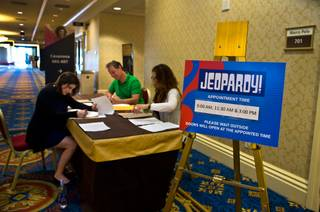 Talent staff grade written tests as potential Jeopardy! candidates are returning for a more formal testing and audition process at the Venetian on Thursday, July 14, 2016.