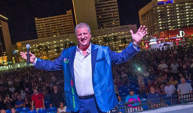 Derek Stevens appears onstage for a Boston concert Friday, July 15, 2016, at Downtown Las Vegas Events Center, which he owns.