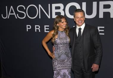 "Luciana Barroso, left, and actor Matt Damon arrive for the Universal Pictures movie premiere of ""Jason Bourne"" at The Colosseum at Caesars Palace Monday, July 18, 2016."