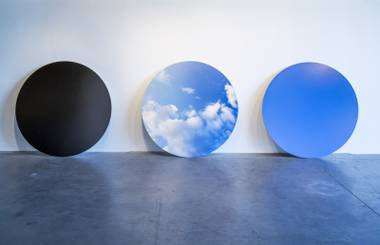 """Seattle Sky"", an artwork by Rebecca Cummins, is seen on display as part of the ""Art and Science"" exhibit at the CAC, Tuesday, July 19, 2016."