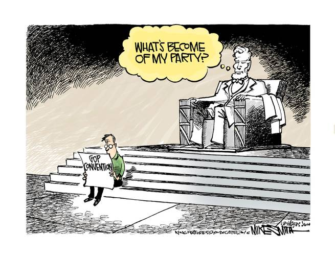 Image of man on steps of Lincoln Memorial reading news about the Republican Convention as statue of Lincoln things,