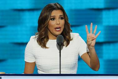 "Actress Eva Longoria speaks July 25 during the first day of the Democratic National Convention in Philadelphia. ""So when Donald Trump calls us criminals and rapists, he's insulting American families,"" Longoria, politically active for a number of years, said during her speech to the Democratic convention. ""My father is not a criminal or rapist. In fact, he's a United States veteran."""