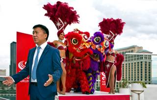 Vice president of Hainan Airlines Hou Wei joins with the Las Vegas Convention and Visitors Authority to announce from Drai's Pool at the Cromwell that Hainan Airlines will be making their first nonstop service to Las Vegas on Thursday, August 4, 2016.