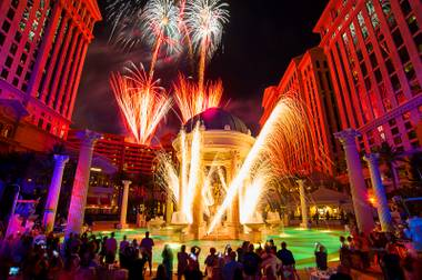 Caesars Palace celebrates its 50th anniversary Friday night with fireworks.