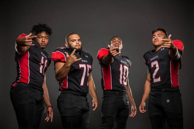 Members of the Las Vegas High football team pose for a photo at the Las Vegas Sun's high school football media day July 20, 2016 at the South Point. They include, from left, Archie McArthur, Robert Kaempfer, Elijah Hicks, and Cruz Littlefield.