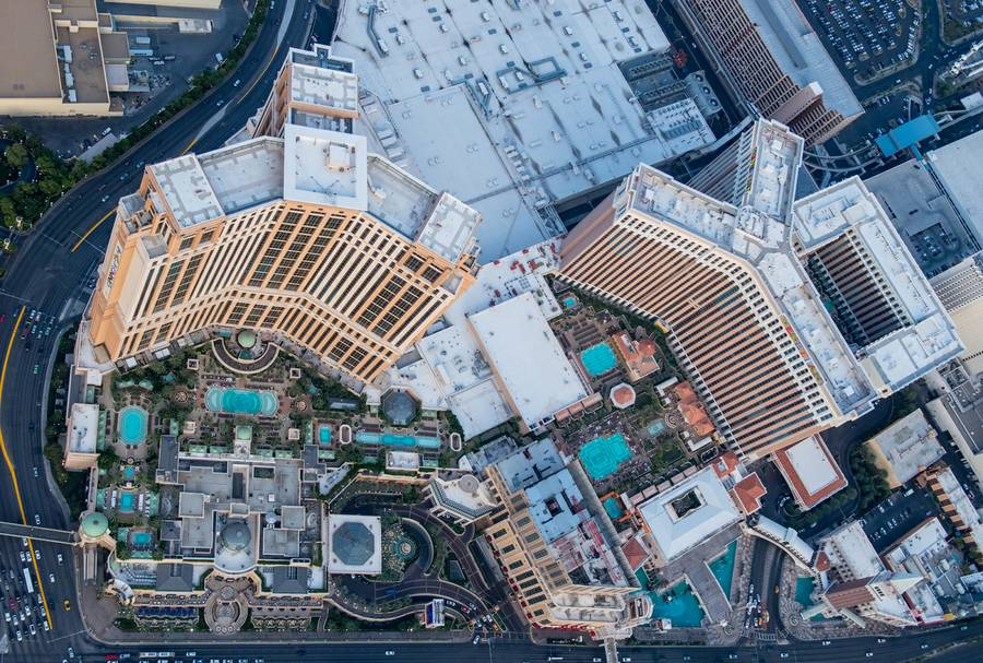 A birds-eye view of the Las Vegas Strip at dusk, Wednesday, Aug. 3, 2016.
