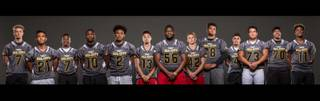 The Sun's preseason all-city high school football team for the 2016 season includes, from left, Kenyon Oblad, Darion Acohido, Isaiah Morris, Elijah Hicks, Jamaal Evans, Mike Sims, Greg Rogers, Andrew Wagner, Eric Brown, Christian Marshall, Adrian Dupuis, Poutasi Poutasi, and Marckell Grayson.