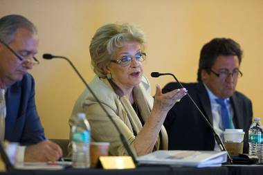 Las Vegas Mayor Carolyn Goodman asks a question during a Southern Nevada Tourism Infrastructure Committee meeting at UNLV Thursday, Aug. 25, 2016.