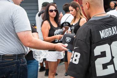 Call it home-field advantage. Representatives of Sands Corp., which aims to lure the Oakland Raiders to Las Vegas, made their pitch Saturday evening to fans who'd gathered at the newly renamed Las Vegas Raiders Nation Cantina, at 4660 Boulder …