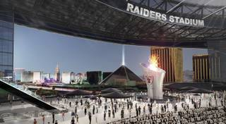 An artist's illustration of a stadium on Russell Road and Las Vegas Boulevard was revealed during a Southern Nevada Tourism Infrastructure Committee meeting at UNLV Thursday, Aug. 25, 2016.