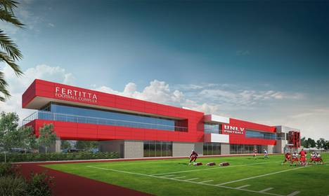 An artist's rendering of the UNLV football training facility that will be known as the Fertitta Football Complex.