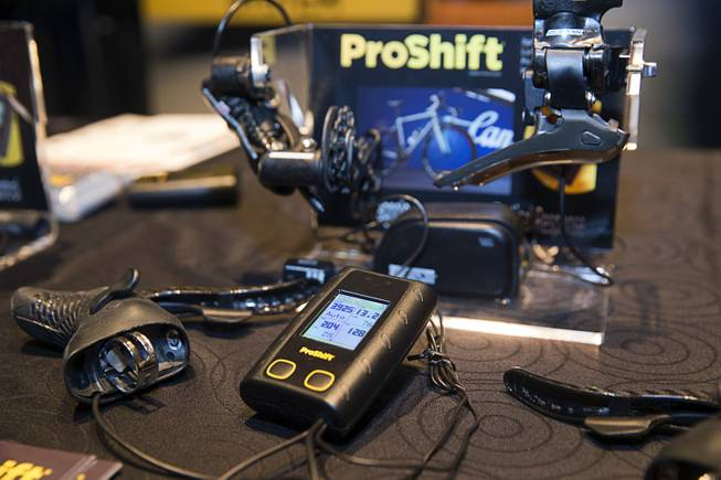 A ProShift computer is displayed during the Interbike Expo 2016 media preview at the Mandalay Bay Convention Center Tuesday, Sept. 20, 2016. The ProShift works with Shimano, SRAM or Campagnolo systems and uses algorithms to automatically maintain the optimum gear.