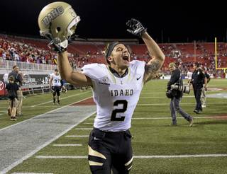 Idaho wide receiver, David Ungerer, yells in celebration after the Vandals upset UNLV in overtime.