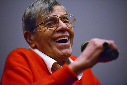 "Jerry Lewis, shown in a file photo at the preview of his film ""Max Rose"" in September 2016, died Aug. 20, 2017, at his home in Las Vegas. He was 91."