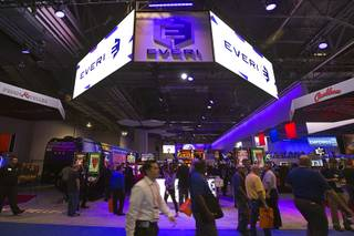 The Everi booth is shown during the Global Gaming Expo (G2E) convention at the Sands Expo and Convention Center Tuesday, Sept. 27, 2016.