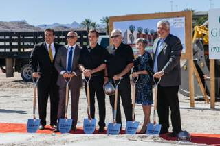 Executives pose for a photo during a groundbreaking event to kick off the construction of the Las Vegas NHL's practice facility in Downtown Summerlin on October 5, 2016. From left, CEO of Bank of Nevada John Guedry, President of Summerlin for The Howard Hughes Corporation Kevin Orrock, General Manager of the Las Vegas NHL team George McPhee, Majority owner of the Las Vegas NHL team Bill Foley, Clark County Commissioner Susan Brager and Chairman of the Clark County Commission Steve Sisolak.