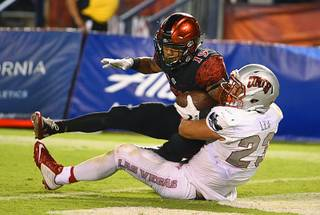 San Diego State running back Donnel Pumphrey (19) pushes past UNLV linebacker Matt Lea (23) as he scores a touchdown during the second half of an NCAA college football game, Saturday, Oct. 8, 2016, in San Diego. (AP Photo/Denis Poroy)