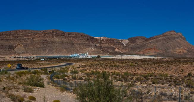 The CertainTeed Gypsum manufacturing facility on Blue Diamond Road near Red Rock Canyon purchases gypsum from the Blue Diamond Hill Gypsum Mine nearby on Tuesday, Oct. 11, 2016. A new road may be installed if developer Jim Rhodes wins his bid to develop the Blue Diamond Hill Gypsum Mine property as a master-planned community.