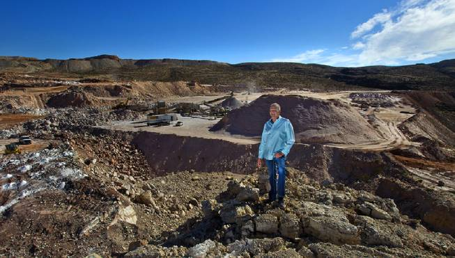 Las Vegas developer Jim Rhodes looks on as gypsum is processed at the Blue Diamond Gypsum Mine near the Red Rock Canyon National Conservation Area on April 16, 2014.