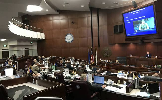 State senators listen to public testimony on a public financing plan for a $1.9 billion NFL stadium in Las Vegas in Carson City on Tuesday, Oct. 11, 2016.