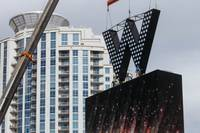 A crane lifts the new W hotel marquee sign into position for its installation at SLS, Friday, Oct. 14, 2016.