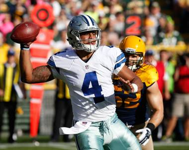 Dallas Cowboys quarterback Dak Prescott throws Sunday, Oct. 16, 2016, during the first half of an NFL game against the Green Bay Packers in Green Bay, Wis.
