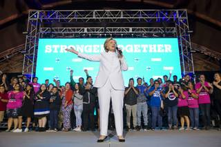 Democratic presidential nominee Hillary Clinton makes an unscheduled stop at a debate watch party and concert at Craig Ranch Regional Park following her debate with Republican nominee Donald Trump Wednesday, Oct. 19, 2016.