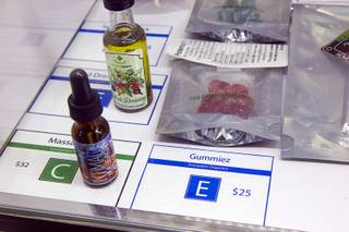 Edible products are displayed at the Essence medical marijuana dispensary in Henderson Monday, Oct. 24, 2016. The company has three locations in the Las Vegas Valley including one on the Las Vegas Strip.
