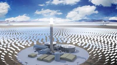 A rendering of SolarReserve's ten new solar plants expected to cover about 15,000 acres and create 3,000 construction jobs over seven years.
