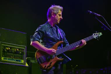 Phish bass guitarist Mike Gordon performs in concert with his band at the MGM Grand Garden Arena on Friday, Oct. 28, 2016.